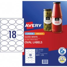 Avery 18up Oval Glossy White Labels Pkt 10
