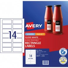 Avery 14up Gloss White Rectangle Labels Pkt 10