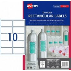 Avery 10UP Glossy White Rectangle Labels Pkt 10