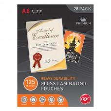 GBC A6 125 Micron Lamination Pouches Pkt 25
